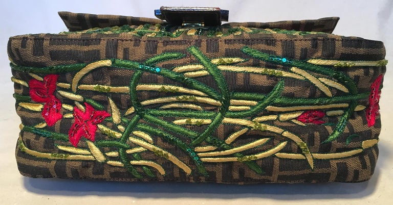 Fendi Floral Embroidered Beaded Monogram Zucca Print Large Baguette In Good Condition For Sale In Philadelphia, PA