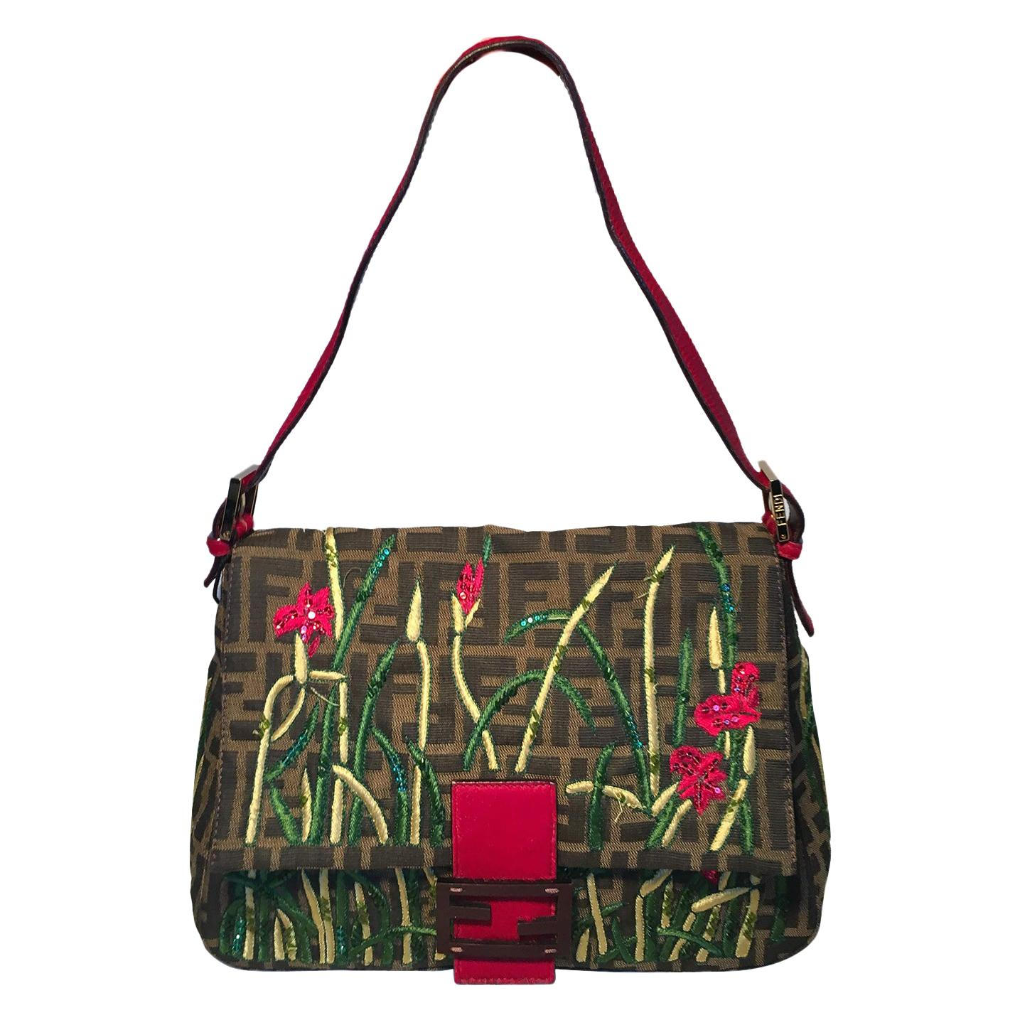 Fendi Floral Embroidered Beaded Monogram Zucca Print Large Baguette