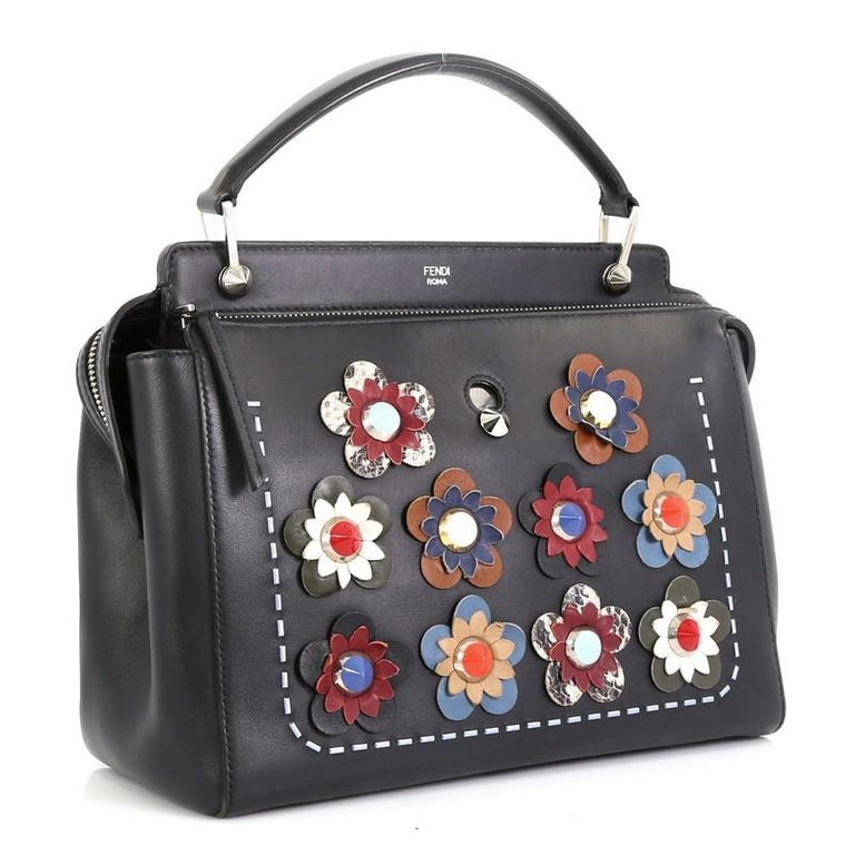Black Fendi Flowerland DotCom Convertible Satchel Embellished Leather Medium  For Sale