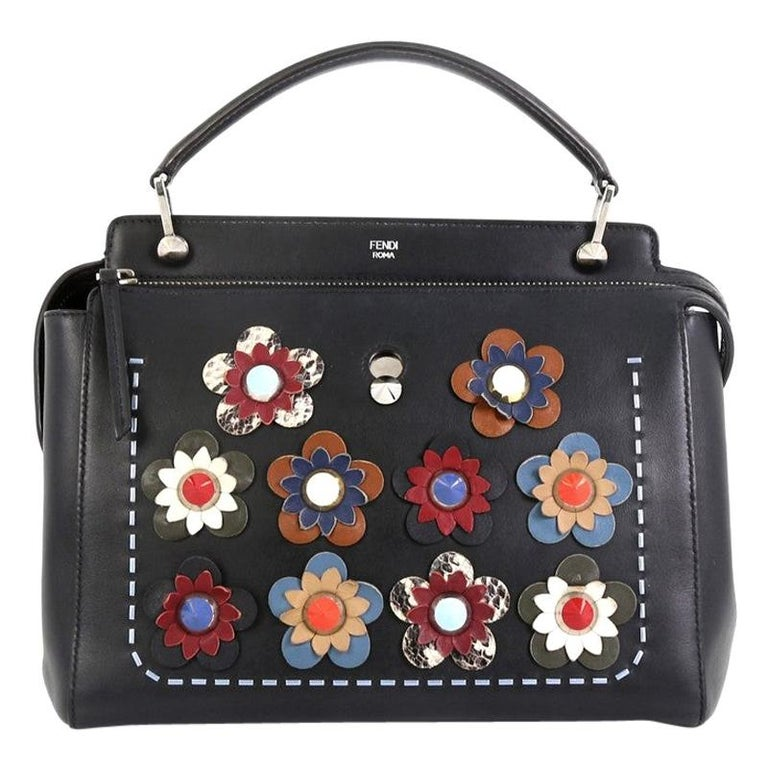Fendi Flowerland DotCom Convertible Satchel Embellished Leather Medium  For Sale