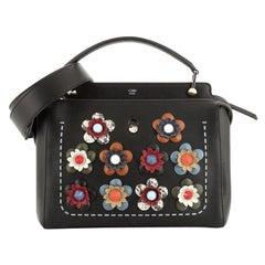 Fendi Flowerland DotCom Convertible Satchel Embellished Leather Medium