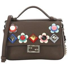 Fendi Flowerland Double Baguette Crossbody Bag Embellished Leather Micro