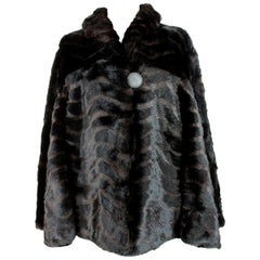 Fendi Fur Coat Rex Lapin Black and Brown Short Bolero Jacket 1980s
