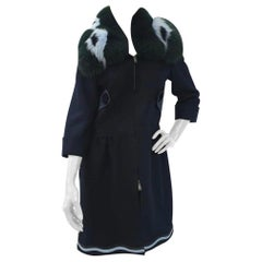 Fendi Fur-Trimmed Wool Cashemere Blue Fox Coat