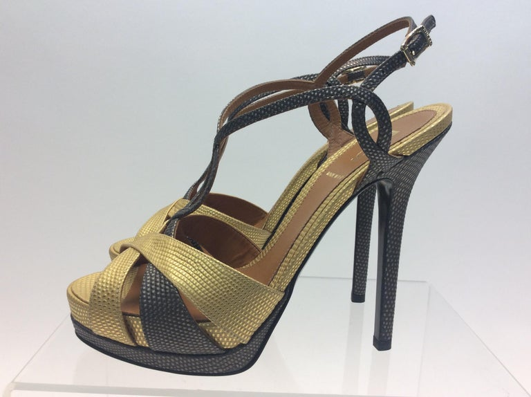 """59d925559c3 Fendi Gold and Grey Metallic Strappy Heels  350 Made in Italy Size 36.5 5""""  heel"""