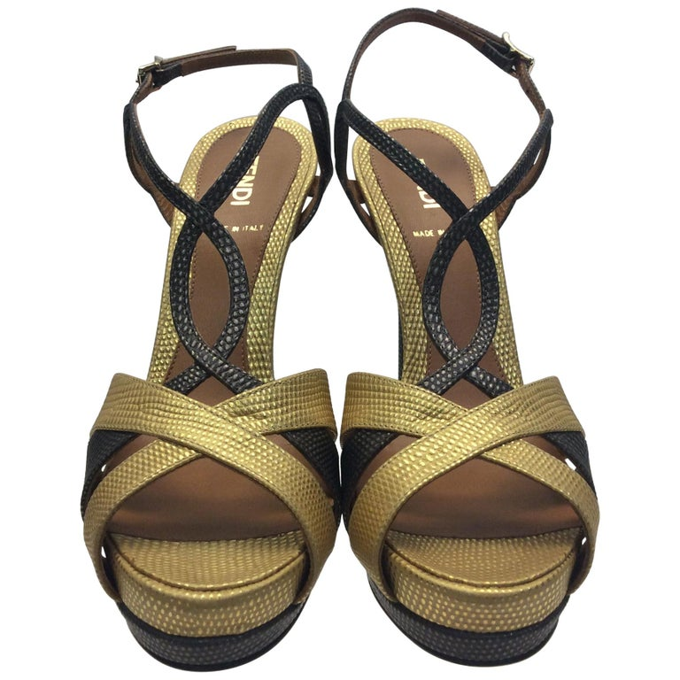 5d0372b53f6 Fendi Gold and Grey Metallic Strappy Heels For Sale at 1stdibs