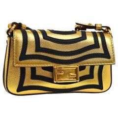 Fendi Gold Black Leather Mini Evening Shoulder Flap Bag