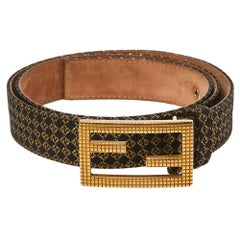 Fendi Gold/Black Printed Fabric and Leather FF Buckle Belt 90CM