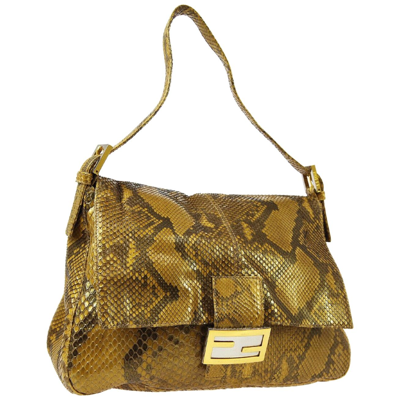 Fendi Gold Cognac Snakeskin Large Logo Top Handle Shoulder Pochette Flap Bag