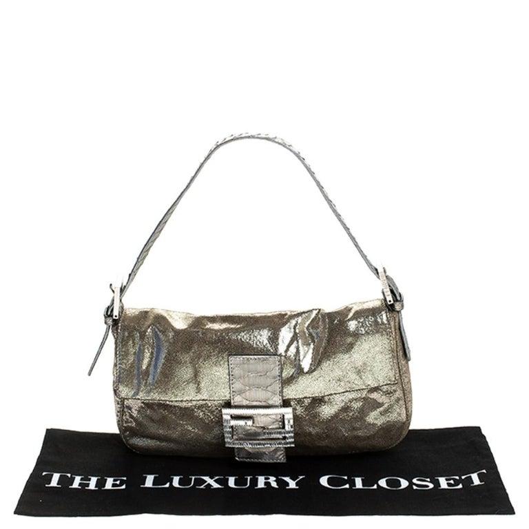 Fendi Gold Faux Leather Baguette Shoulder Bag 7