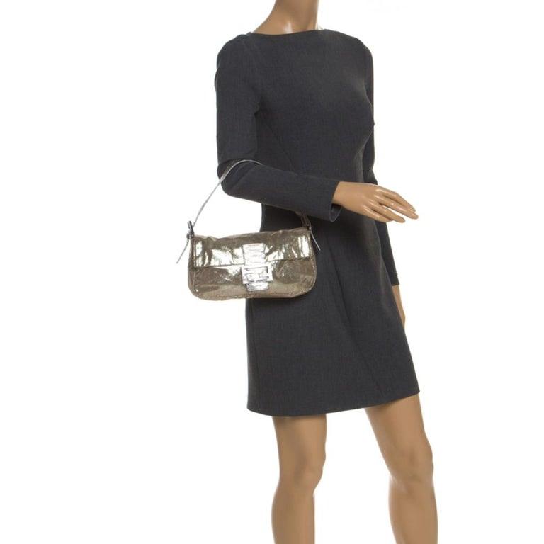 Fendi Gold Faux Leather Baguette Shoulder Bag In Excellent Condition In Dubai, Al Qouz 2