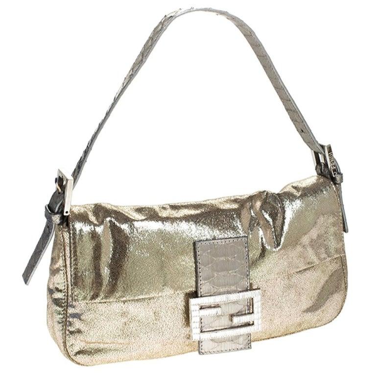 Women's Fendi Gold Faux Leather Baguette Shoulder Bag