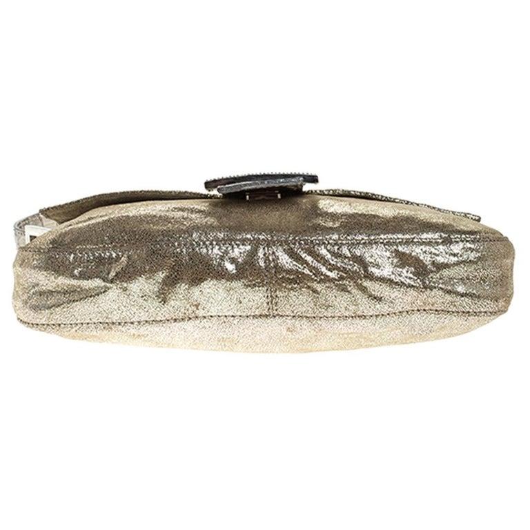 Fendi Gold Faux Leather Baguette Shoulder Bag 1