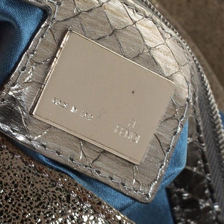 Fendi Gold Faux Leather Baguette Shoulder Bag 2