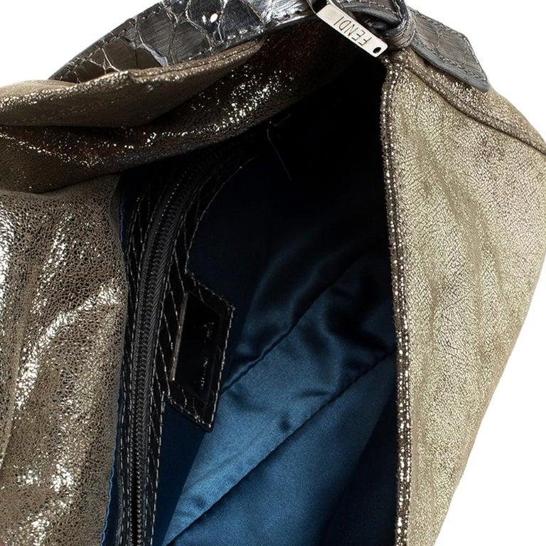 Fendi Gold Faux Leather Baguette Shoulder Bag 3