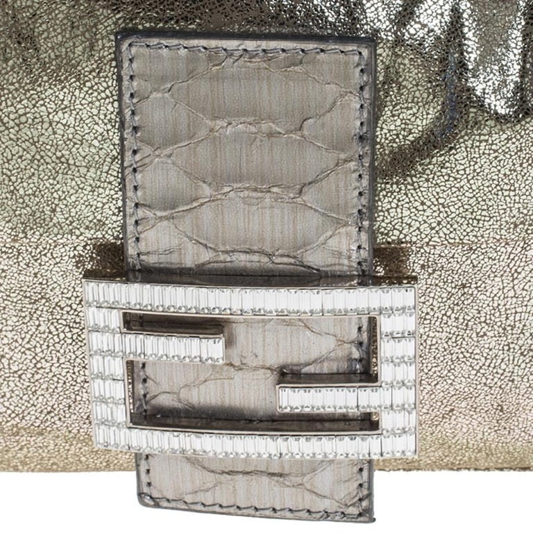 Fendi Gold Faux Leather Baguette Shoulder Bag 4