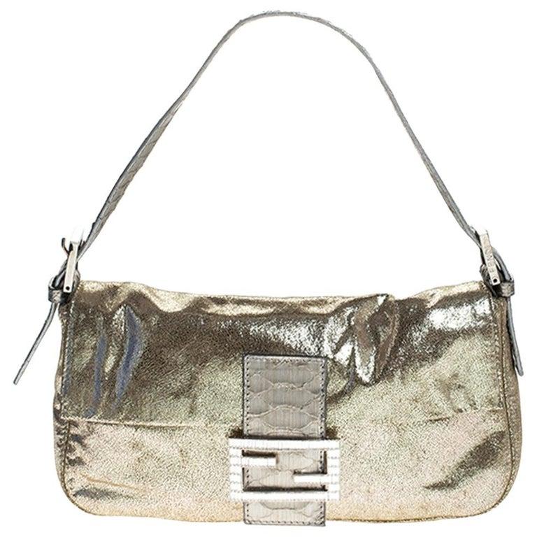 Fendi Gold Faux Leather Baguette Shoulder Bag