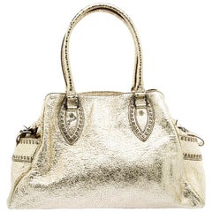 Fendi Gold Leather Du Jour Satchel