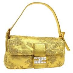 Fendi Gold Leather Lace Rhinestone EveningTop Handle Shoulder Pochette Flap Bag