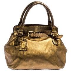 Fendi Gold Leather Selleria Villa Borghese Satchel