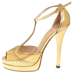 Fendi Gold Leather T Strap Platform Sandals Size 38