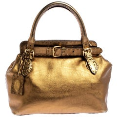 Fendi Gold Selleria Leather Villa Borghese Tote