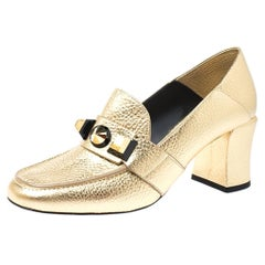 Fendi Gold textured Leather Geometric Stud Loafer Pumps Size 39