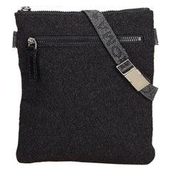 Fendi Gray Dark Gray Chemical Fiber Fabric Belt Bag Italy