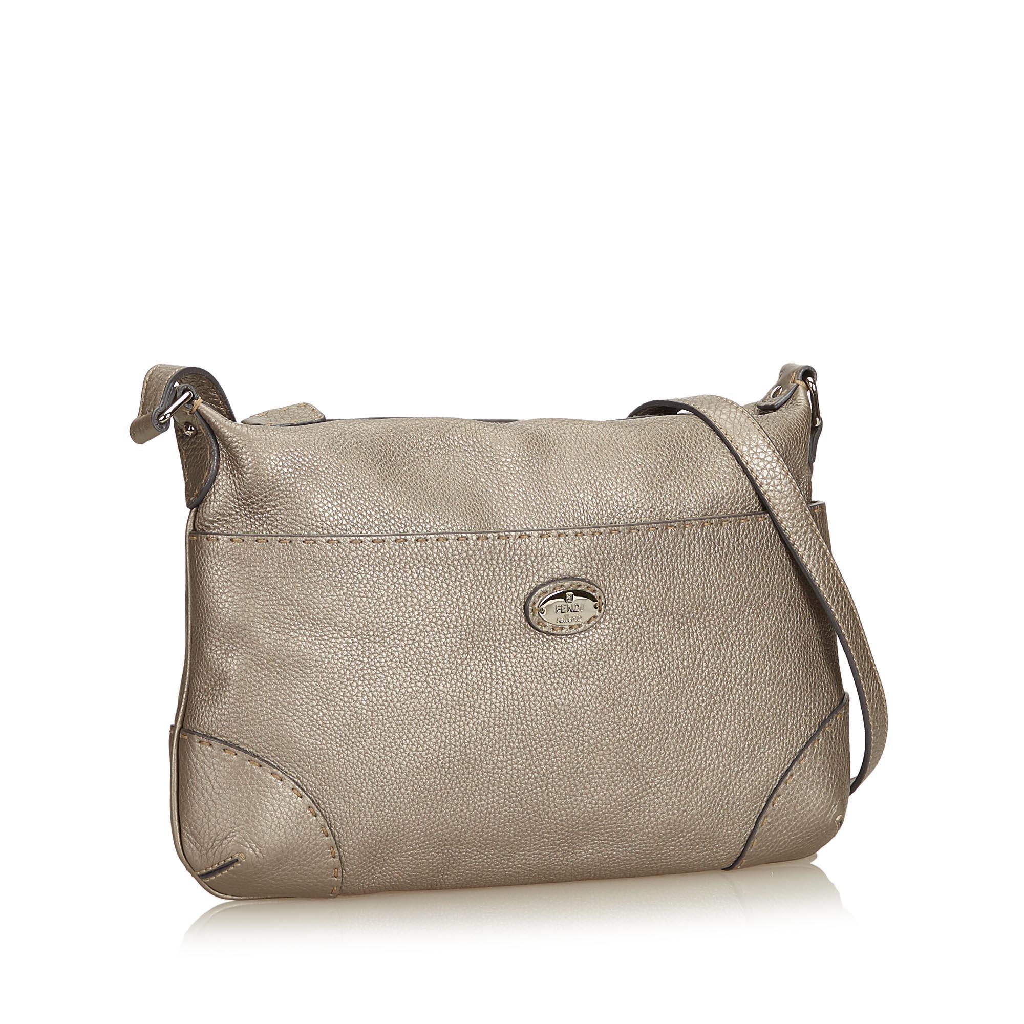 2e10e19fea97 Fendi Gray Leather Selleria Crossbody Bag at 1stdibs
