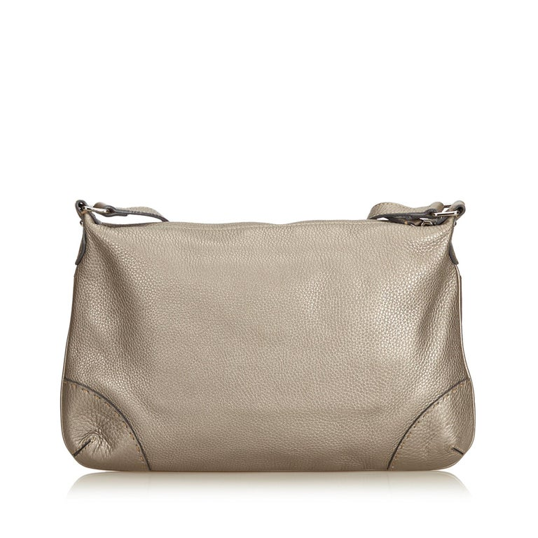 b73ccb4bea38 Brown Fendi Gray Leather Selleria Crossbody Bag For Sale