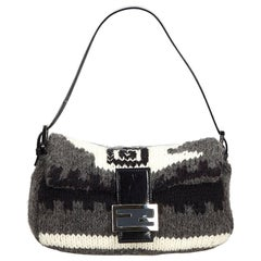Fendi Gray  with Black Wool Fabric Mamma Baguette Italy w/ Dust Bag
