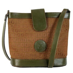 Fendi Green Beige Leather Canvas Monogram Zucca Bucket Bag 1980s