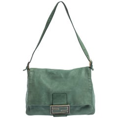 Fendi Green Iridescent Leather Mama Forever Large Flap Shoulder Bag