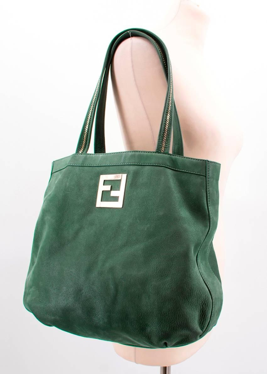 Fendi Green Leather And Suede Tote Bag WABFy8f