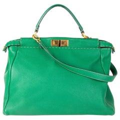 FENDI green leather PEEKABOO LARGE Shoulder Bag