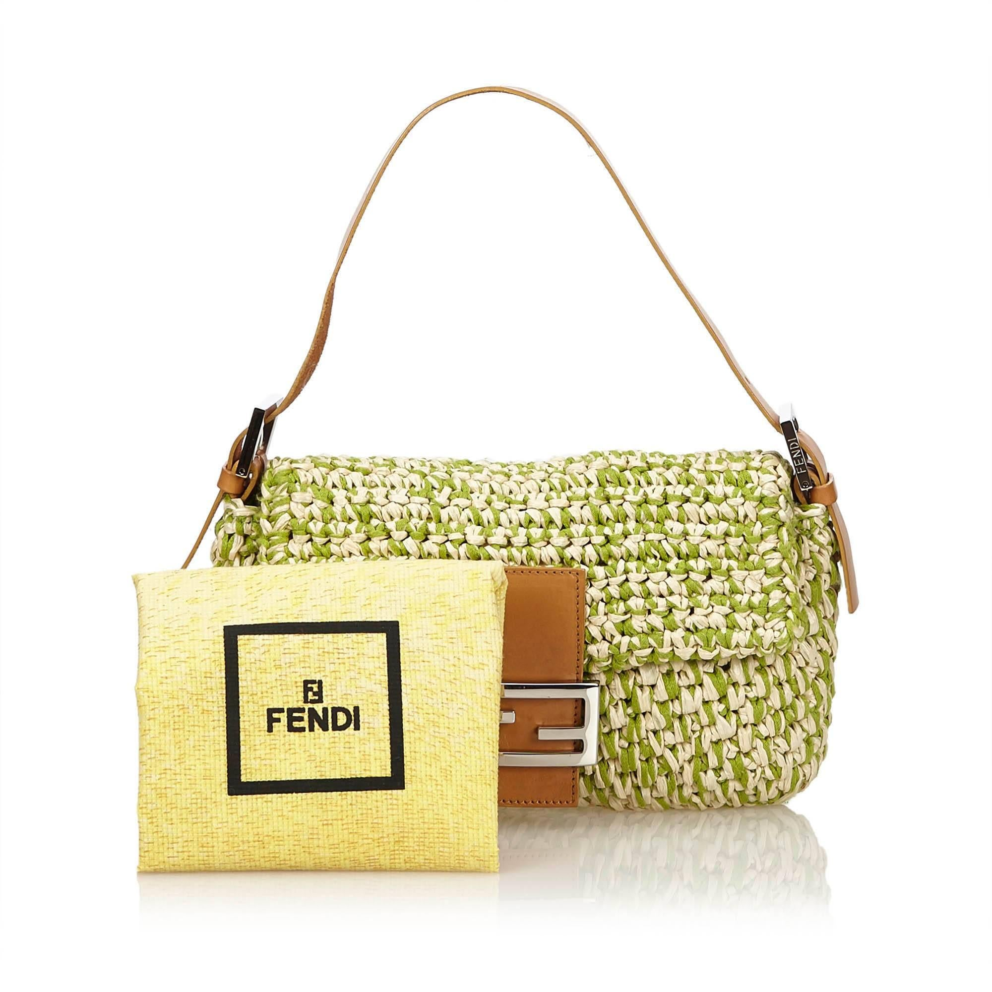 6b8fb13c8794 Fendi Green Straw Baguette at 1stdibs