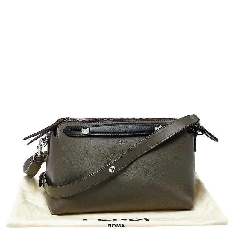 Women's Fendi Grey/Black Leather Medium By The Way Boston Bag
