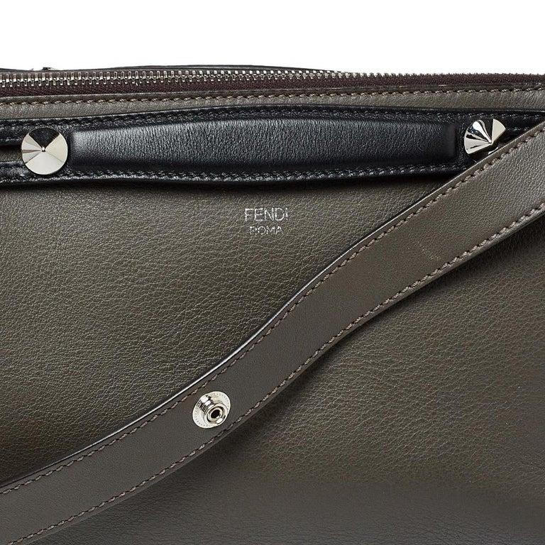 Fendi Grey/Black Leather Medium By The Way Boston Bag 5