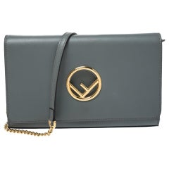 Fendi Grey Leather Chain Clutch