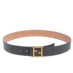 Fendi Grey Leather FF Logo Buckle Belt 90 CM
