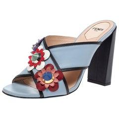 Fendi Grey Leather Flowerland Cross Strap Sandals Size 38.5