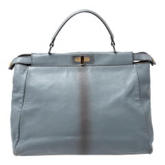 Fendi Grey Leather Large Peekaboo Top Handle Bag