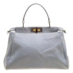 Fendi Grey Leather Medium Peekaboo Top Handle Bag