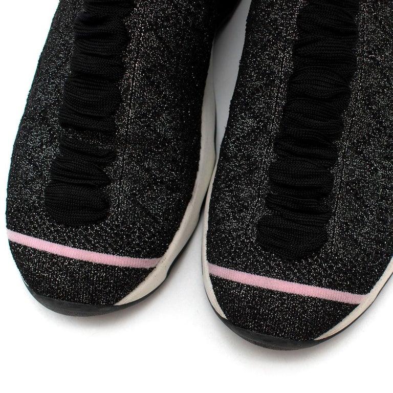 Women's Fendi Grey Lurex Sock Trainers - Size EU 37.5 For Sale