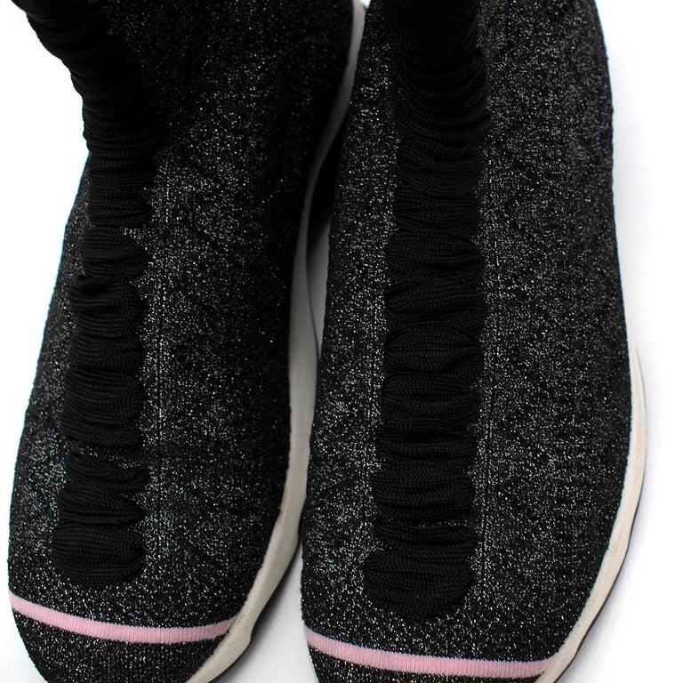 Fendi Grey Lurex Sock Trainers - Size EU 37.5 For Sale 2