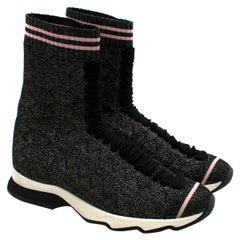 Fendi Grey Lurex Sock Trainers - Size EU 37.5