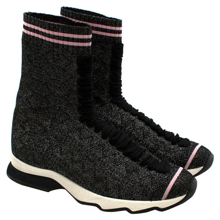 Fendi Grey Lurex Sock Trainers - Size EU 37.5 For Sale