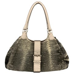 FENDI Grey Persian Lamb Fur SELLERIA Shoulder Handbag