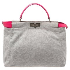 Fendi Grey/Pink Jersey and Leather Large Limited Edition Peekaboo Top Handle Bag