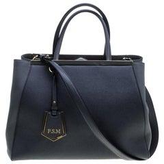 Fendi Grey Saffiano Leather 2Jours Tote